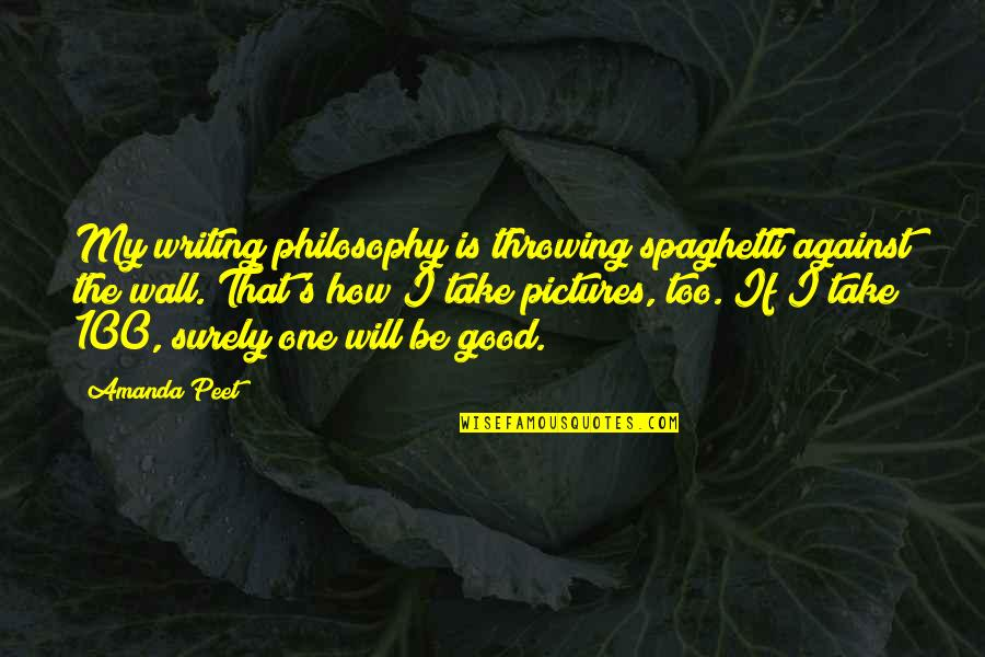 Writing Philosophy Quotes By Amanda Peet: My writing philosophy is throwing spaghetti against the