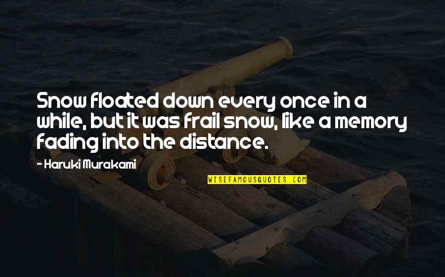 Writing Philosophy Quotes By Haruki Murakami: Snow floated down every once in a while,
