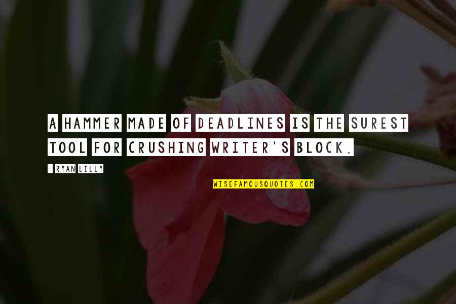 Writing Philosophy Quotes By Ryan Lilly: A hammer made of deadlines is the surest