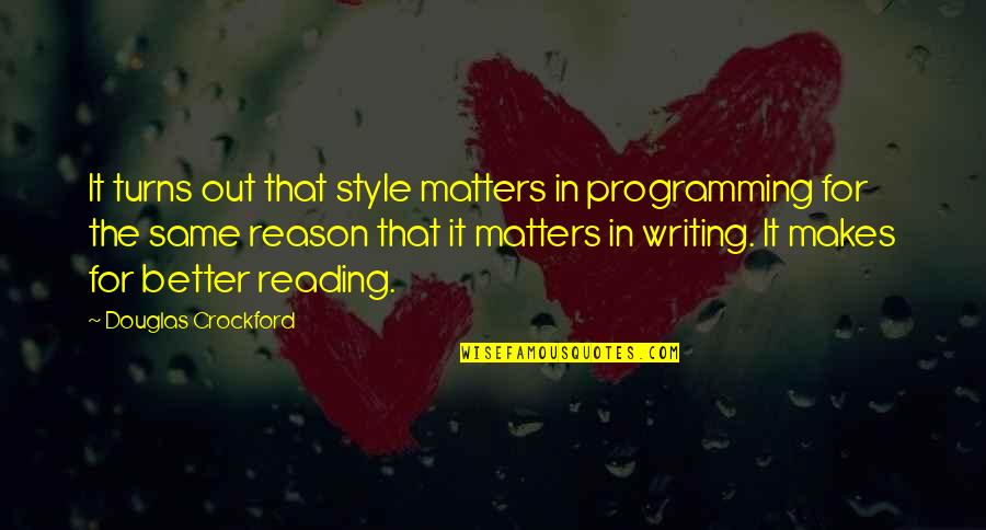 Writing Style Quotes By Douglas Crockford: It turns out that style matters in programming