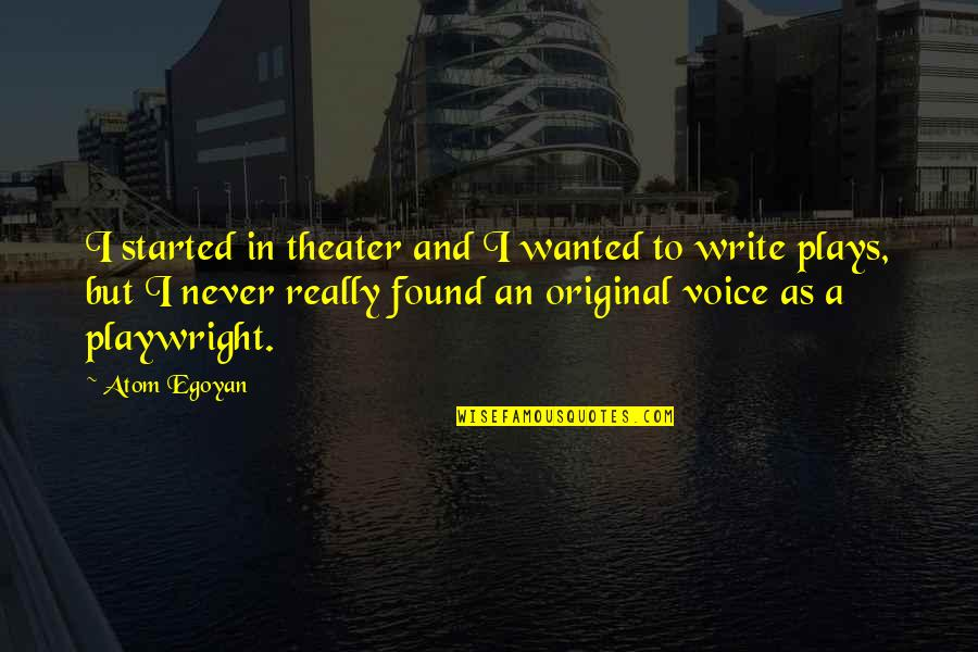 Writing Voice Quotes By Atom Egoyan: I started in theater and I wanted to