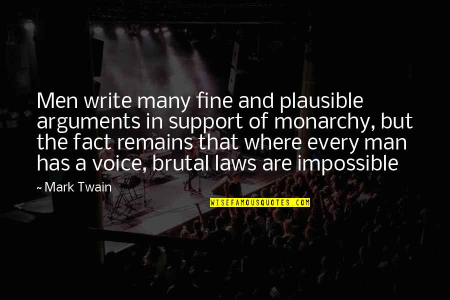 Writing Voice Quotes By Mark Twain: Men write many fine and plausible arguments in