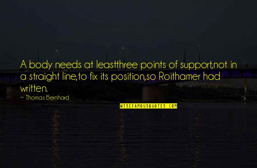 Written On Body Quotes By Thomas Bernhard: A body needs at leastthree points of support,not