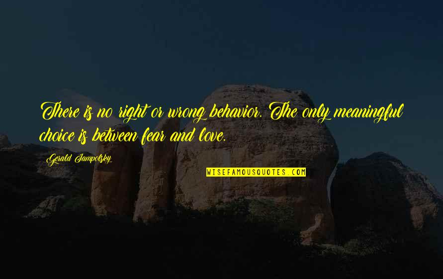 Wrong Choice Love Quotes By Gerald Jampolsky: There is no right or wrong behavior. The