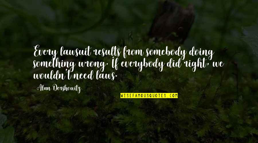 Wrong From Right Quotes By Alan Dershowitz: Every lawsuit results from somebody doing something wrong.