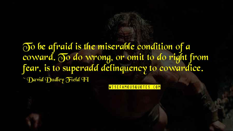 Wrong From Right Quotes By David Dudley Field II: To be afraid is the miserable condition of