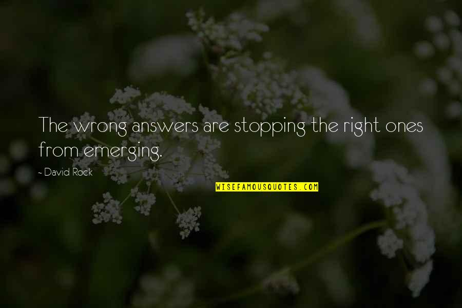 Wrong From Right Quotes By David Rock: The wrong answers are stopping the right ones