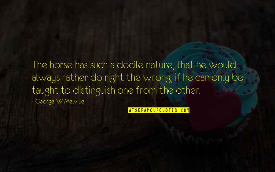 Wrong From Right Quotes By George W. Melville: The horse has such a docile nature, that