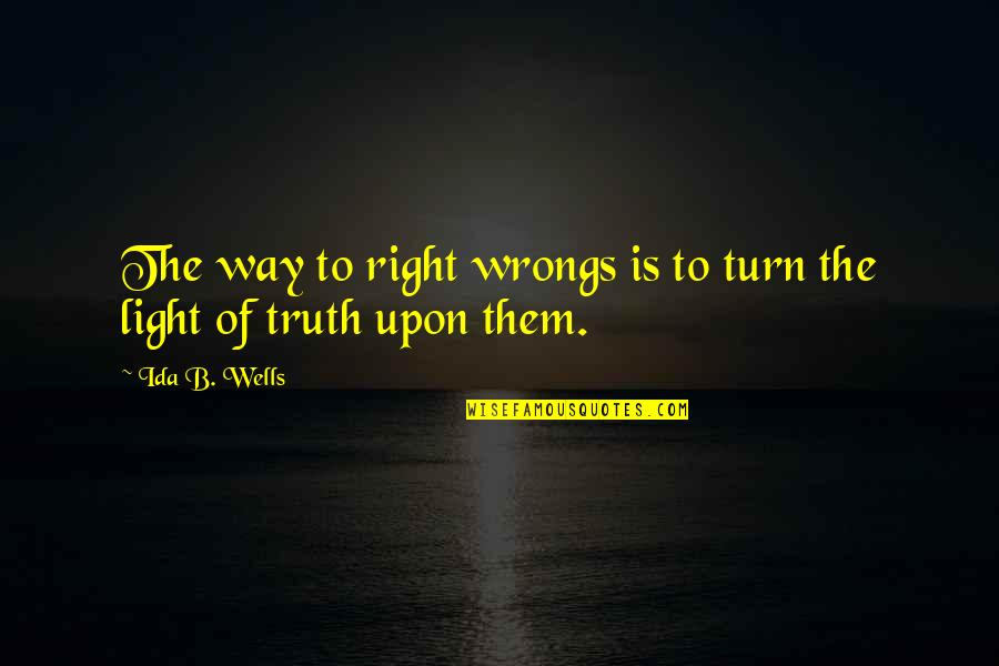Wrongs Quotes By Ida B. Wells: The way to right wrongs is to turn