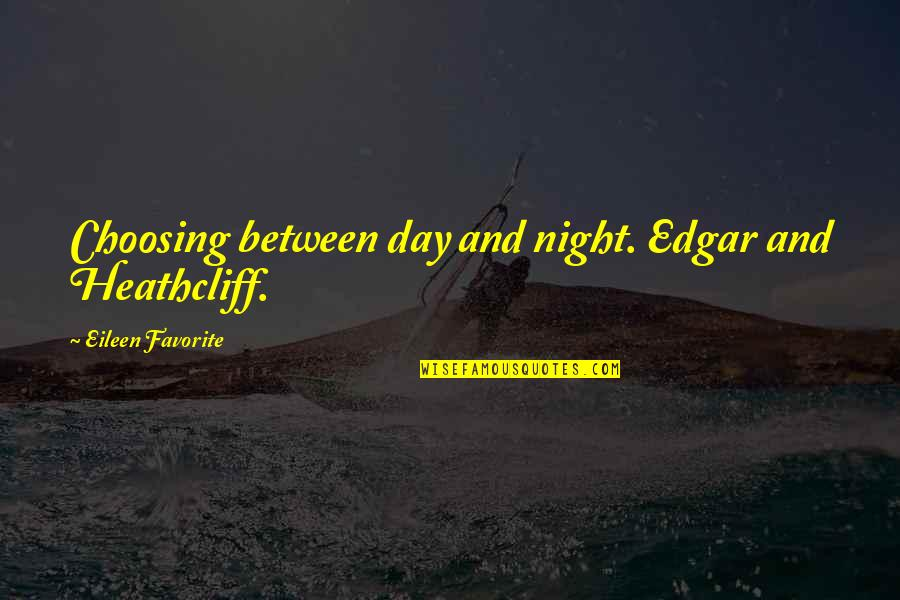 Wuthering Quotes By Eileen Favorite: Choosing between day and night. Edgar and Heathcliff.