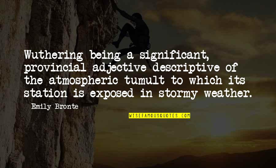 Wuthering Quotes By Emily Bronte: Wuthering being a significant, provincial adjective descriptive of