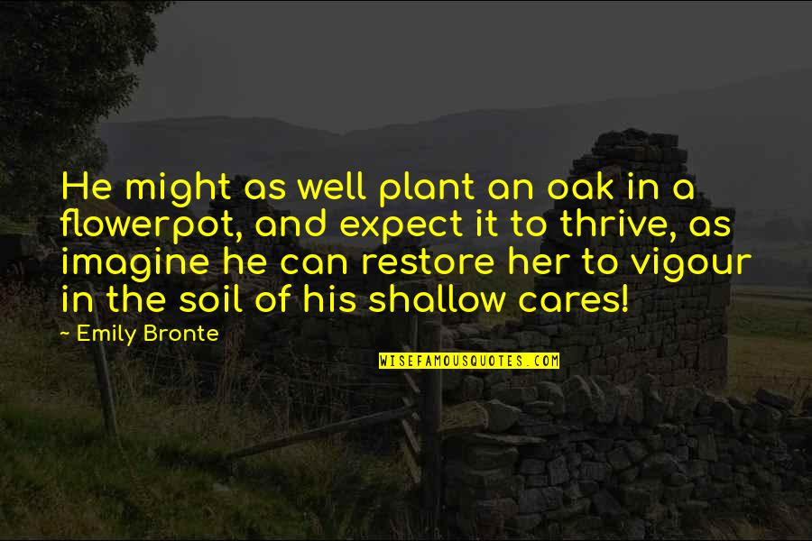 Wuthering Quotes By Emily Bronte: He might as well plant an oak in