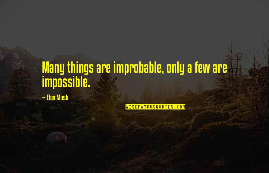 Ww2 Canada Quotes By Elon Musk: Many things are improbable, only a few are