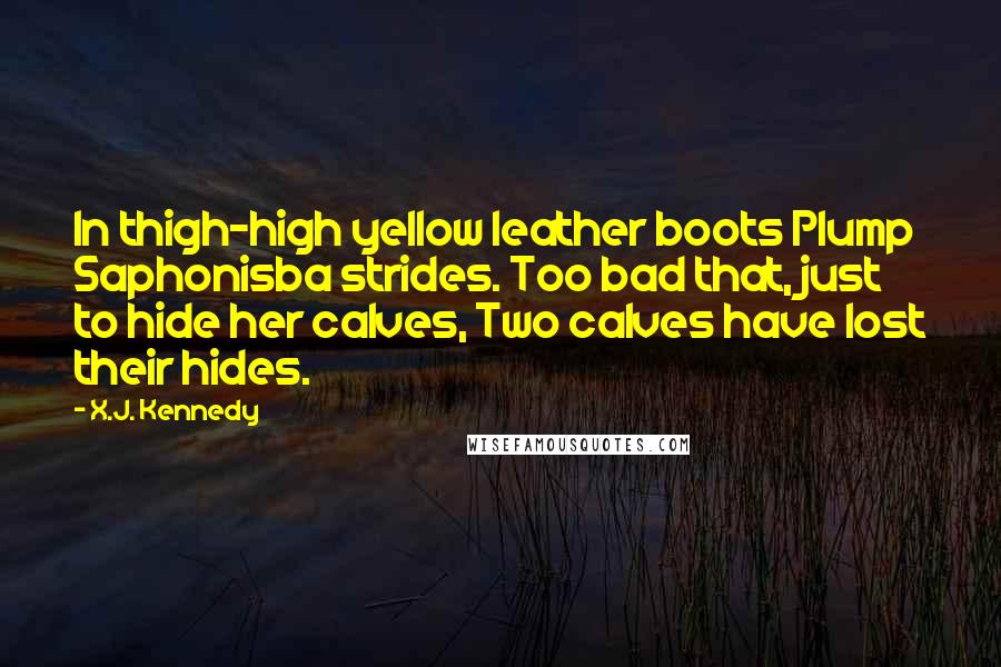 X.J. Kennedy quotes: In thigh-high yellow leather boots Plump Saphonisba strides. Too bad that, just to hide her calves, Two calves have lost their hides.