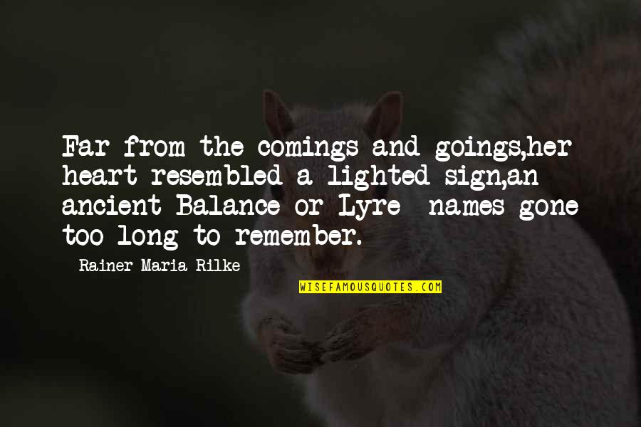 Xiii-2 Quotes By Rainer Maria Rilke: Far from the comings and goings,her heart resembled