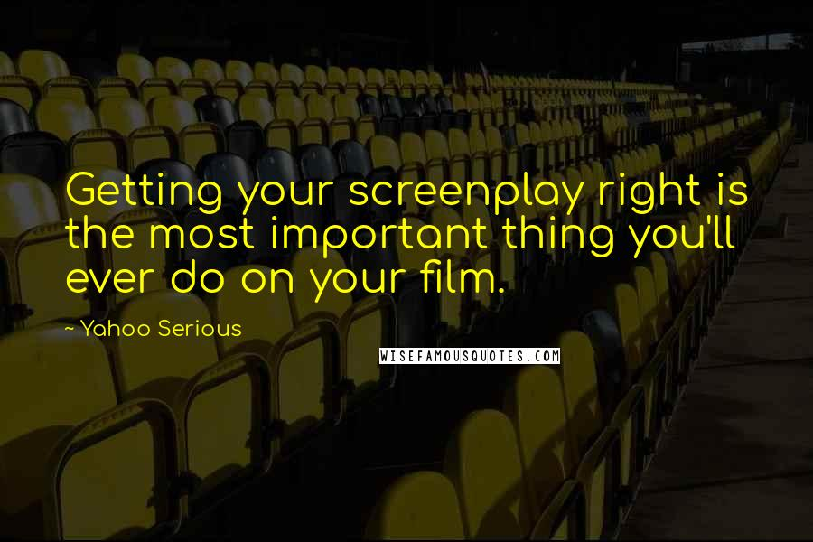 Yahoo Serious quotes: Getting your screenplay right is the most important thing you'll ever do on your film.