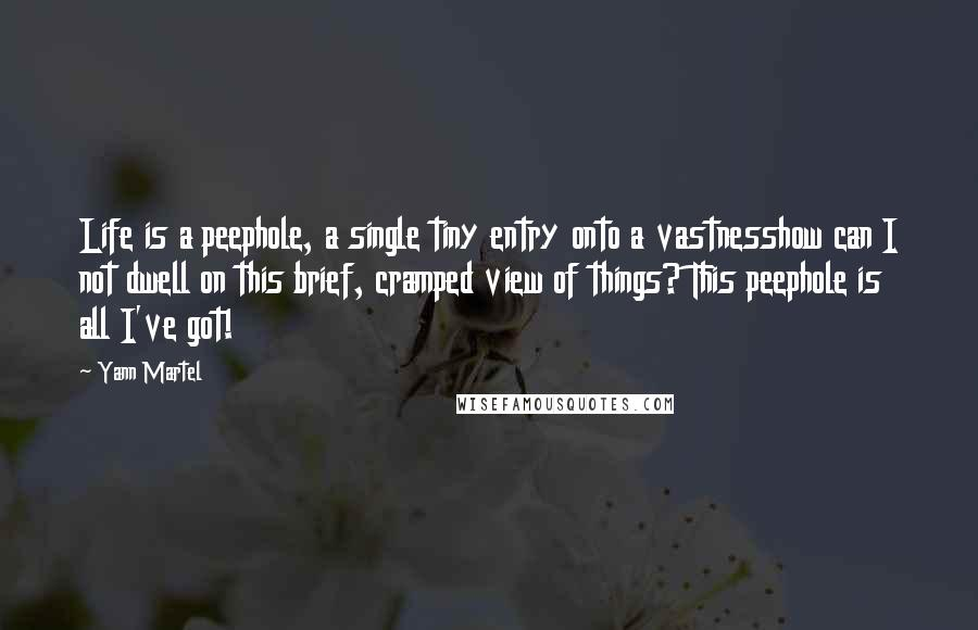 Yann Martel quotes: Life is a peephole, a single tiny entry onto a vastnesshow can I not dwell on this brief, cramped view of things? This peephole is all I've got!