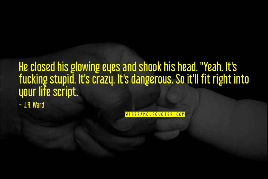 Yeah Quotes By J.R. Ward: He closed his glowing eyes and shook his