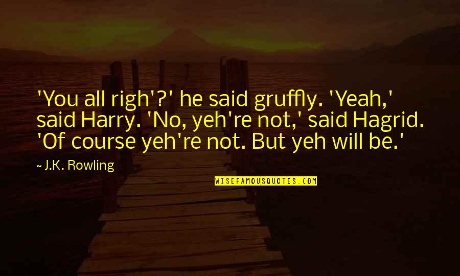 Yeh'll Quotes By J.K. Rowling: 'You all righ'?' he said gruffly. 'Yeah,' said