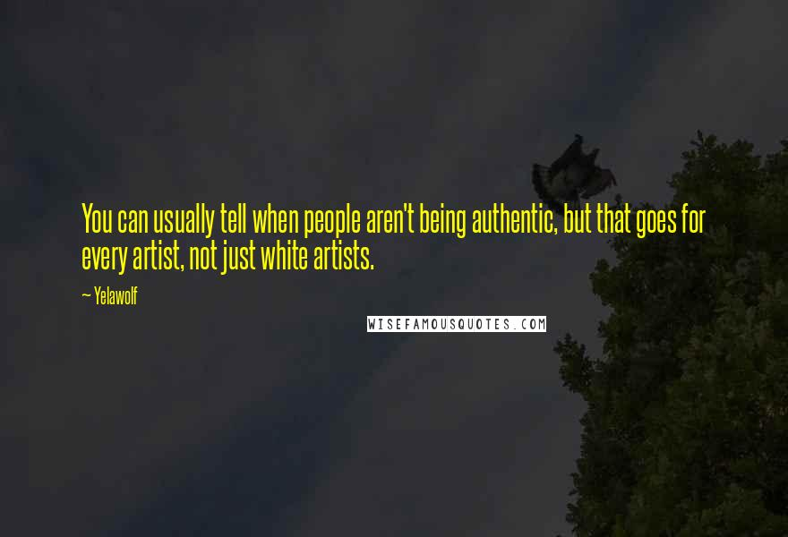 Yelawolf quotes: You can usually tell when people aren't being authentic, but that goes for every artist, not just white artists.