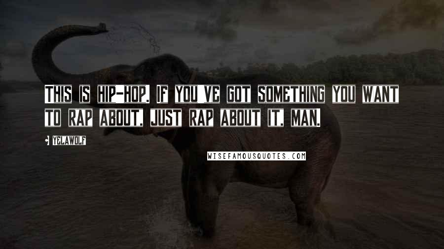Yelawolf quotes: This is hip-hop. If you've got something you want to rap about, just rap about it, man.
