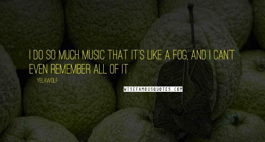 Yelawolf quotes: I do so much music that it's like a fog, and I can't even remember all of it.