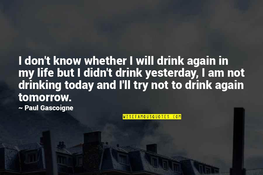 Yesterday And Today Quotes By Paul Gascoigne: I don't know whether I will drink again