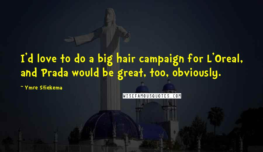 Ymre Stiekema quotes: I'd love to do a big hair campaign for L'Oreal, and Prada would be great, too, obviously.
