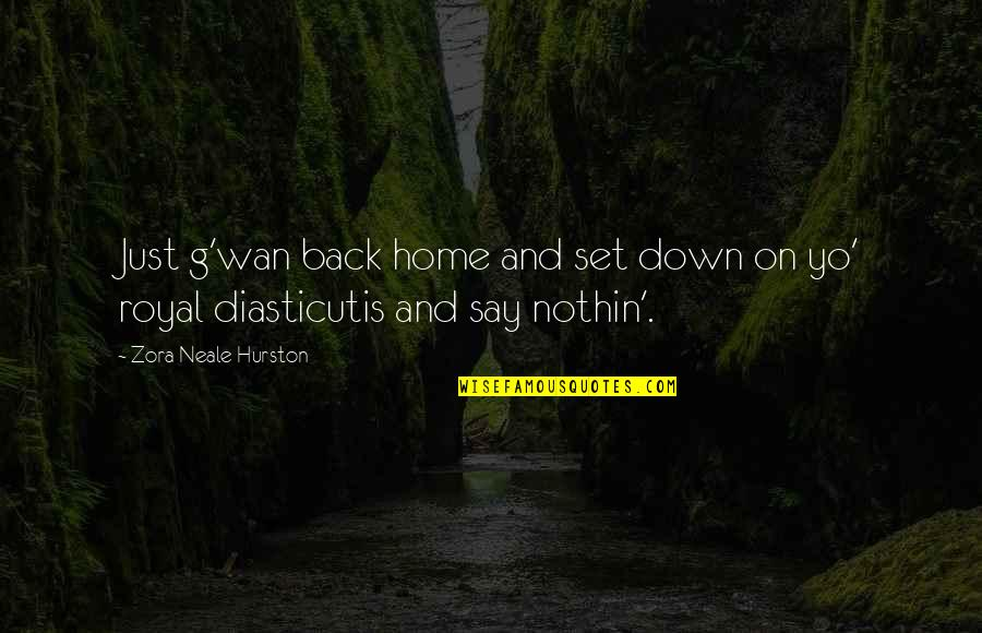Yo Yo Quotes By Zora Neale Hurston: Just g'wan back home and set down on