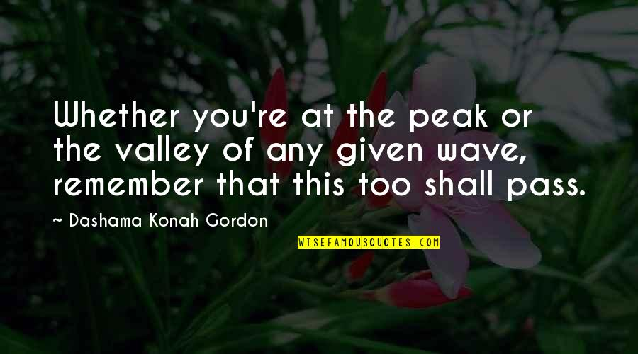 Yoga And Happiness Quotes By Dashama Konah Gordon: Whether you're at the peak or the valley