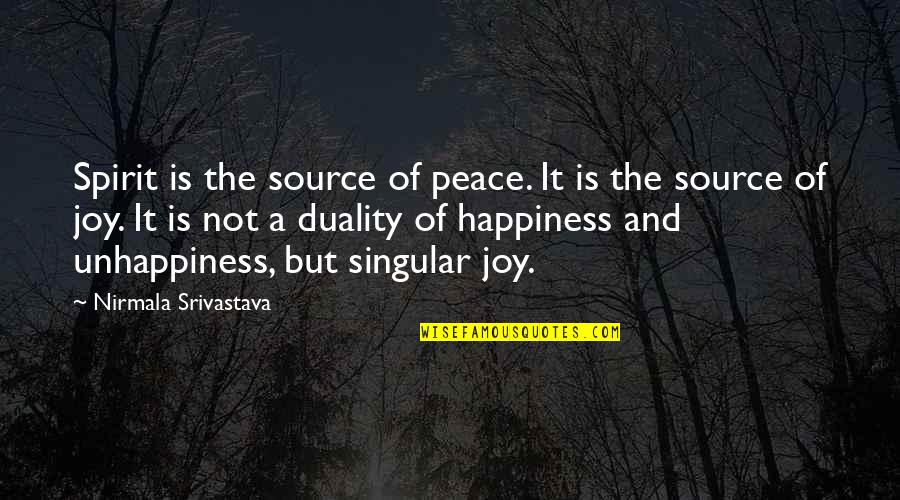 Yoga And Happiness Quotes By Nirmala Srivastava: Spirit is the source of peace. It is