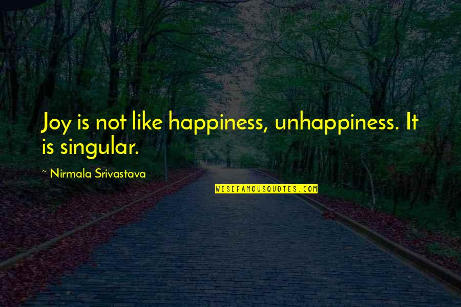 Yoga And Happiness Quotes By Nirmala Srivastava: Joy is not like happiness, unhappiness. It is
