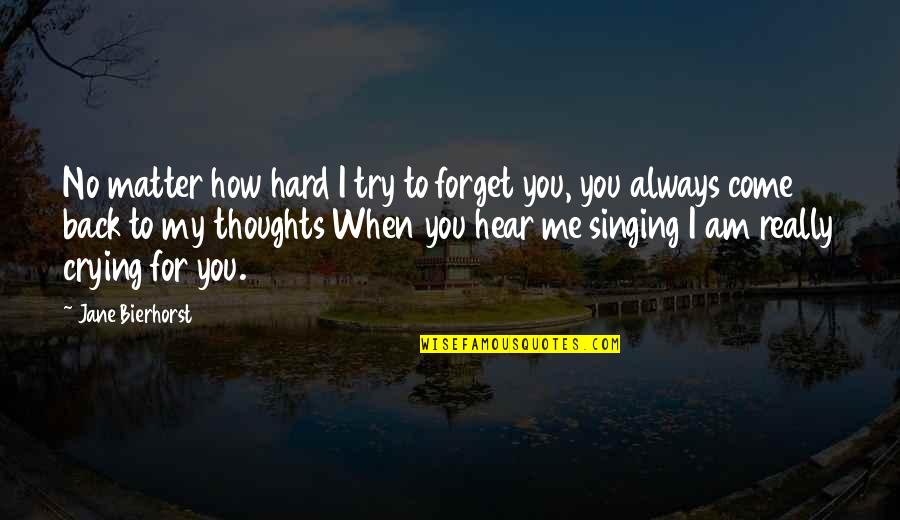 You Always Forget Me Quotes By Jane Bierhorst: No matter how hard I try to forget