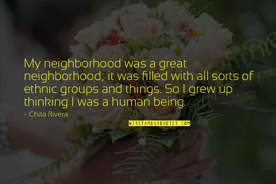 You Are A Great Human Being Quotes By Chita Rivera: My neighborhood was a great neighborhood; it was