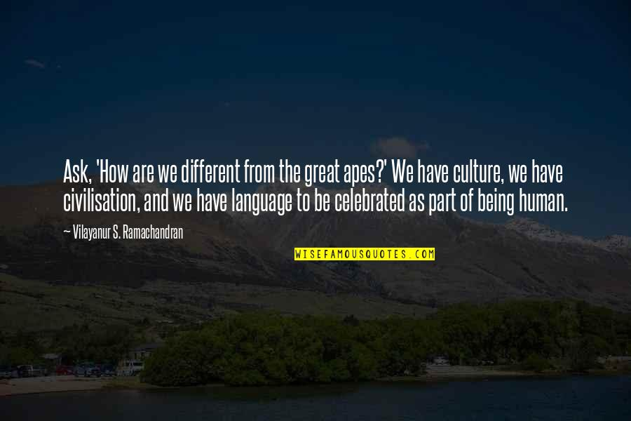 You Are A Great Human Being Quotes By Vilayanur S. Ramachandran: Ask, 'How are we different from the great