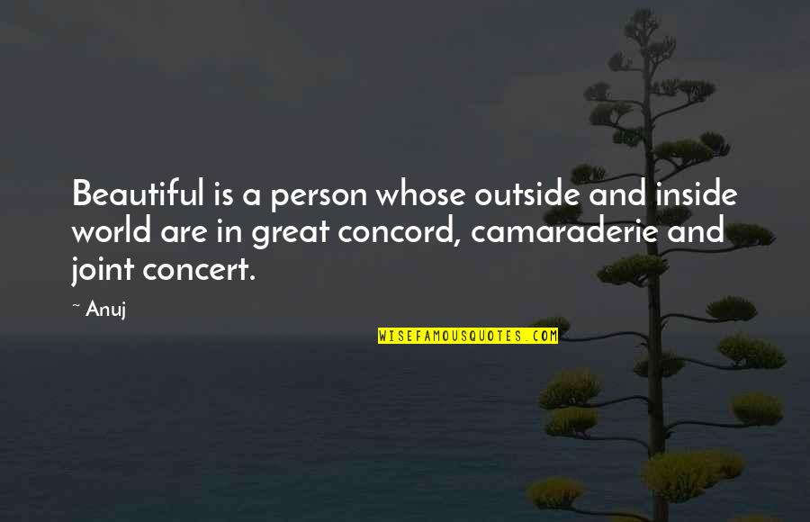 You Are Beautiful Person Quotes By Anuj: Beautiful is a person whose outside and inside
