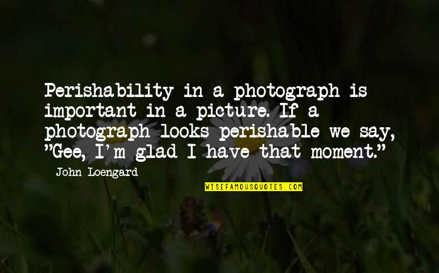You Are Important Picture Quotes By John Loengard: Perishability in a photograph is important in a