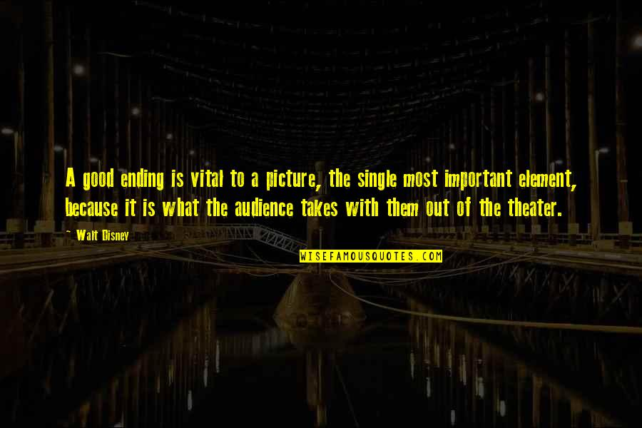 You Are Important Picture Quotes By Walt Disney: A good ending is vital to a picture,