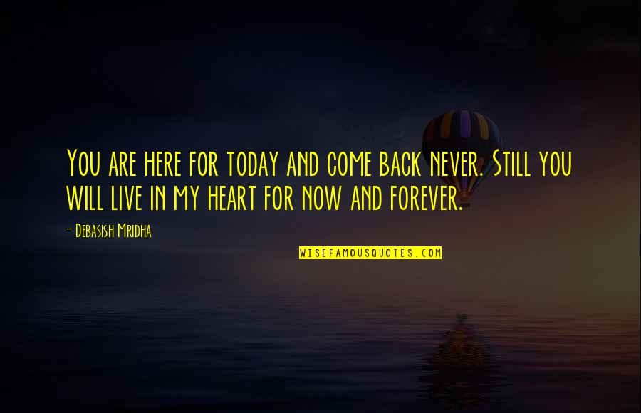 You Are In My Heart Quotes By Debasish Mridha: You are here for today and come back