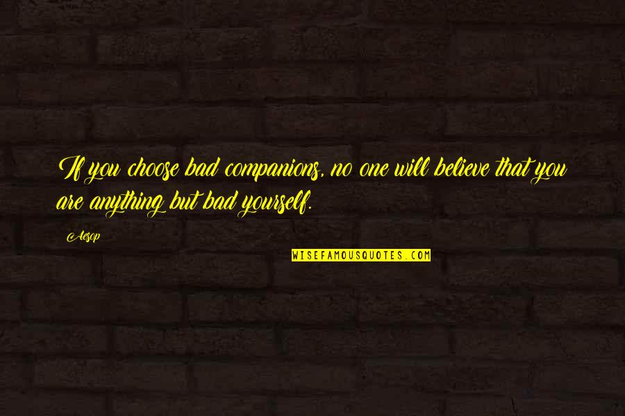 You Are One Quotes By Aesop: If you choose bad companions, no one will