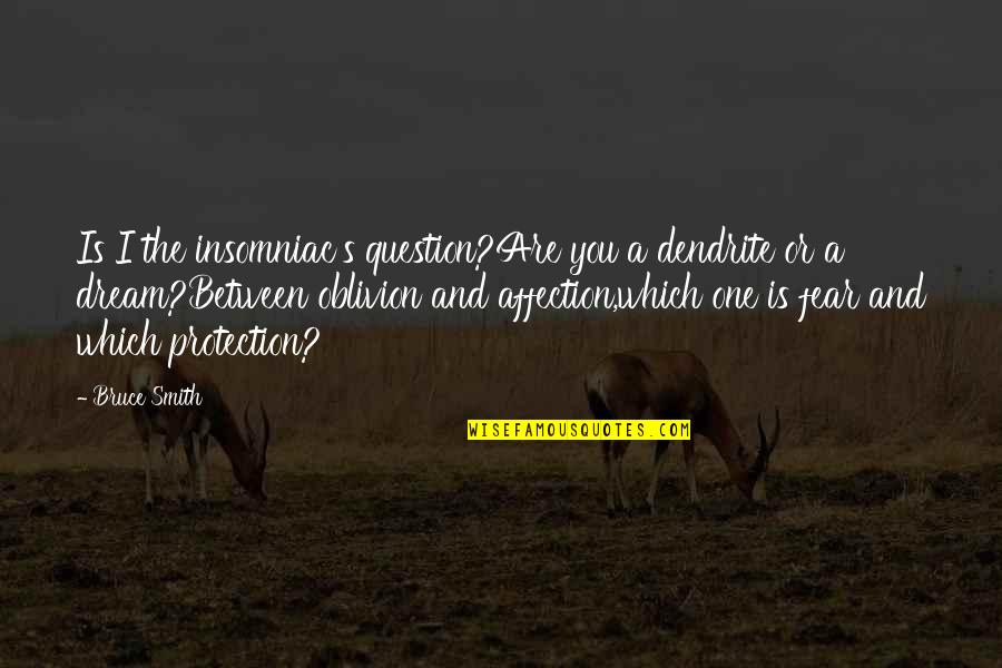 You Are One Quotes By Bruce Smith: Is I the insomniac's question?Are you a dendrite