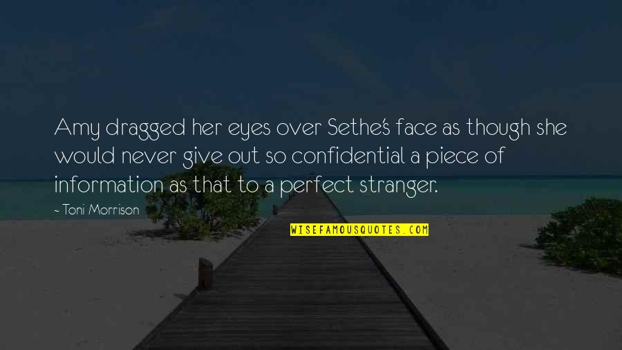 You Are Perfect In My Eyes Quotes By Toni Morrison: Amy dragged her eyes over Sethe's face as