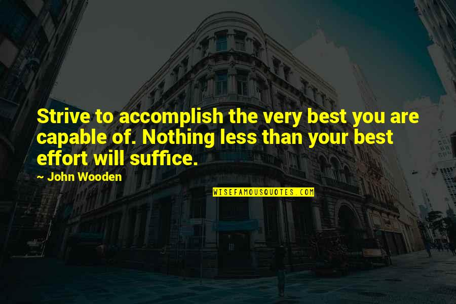 You Are The Best You Quotes By John Wooden: Strive to accomplish the very best you are