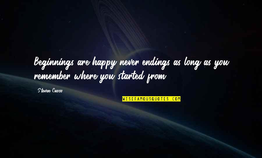 You Are The Best You Quotes By Steven Cuoco: Beginnings are happy never-endings as long as you