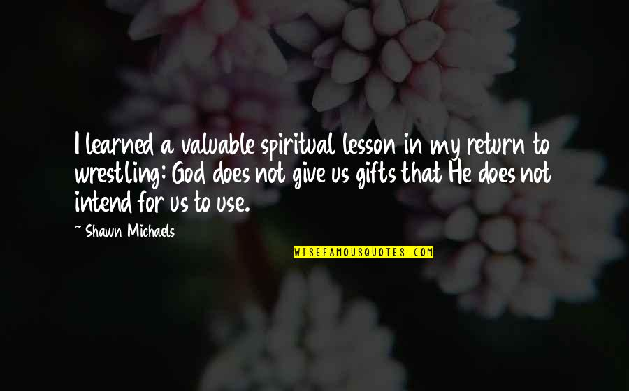 You Are Valuable To God Quotes By Shawn Michaels: I learned a valuable spiritual lesson in my