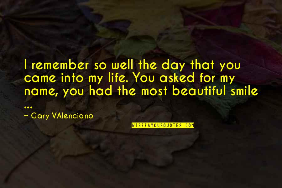 You Came Into My Life Quotes By Gary VAlenciano: I remember so well the day that you