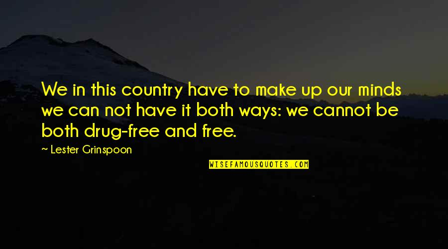 You Can Have It Both Ways Quotes By Lester Grinspoon: We in this country have to make up
