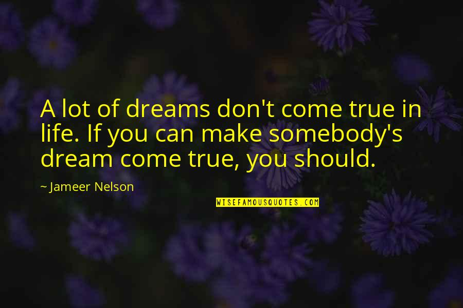 You Can Make Your Dreams Come True Quotes By Jameer Nelson: A lot of dreams don't come true in