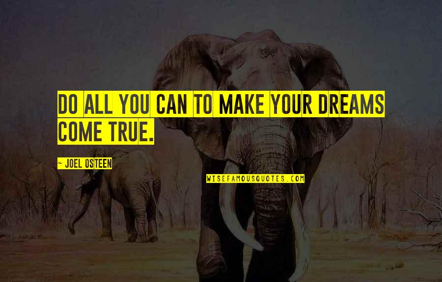 You Can Make Your Dreams Come True Quotes By Joel Osteen: Do all you can to make your dreams