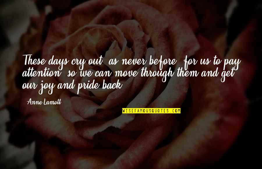 You Can Never Get Back Quotes By Anne Lamott: These days cry out, as never before, for